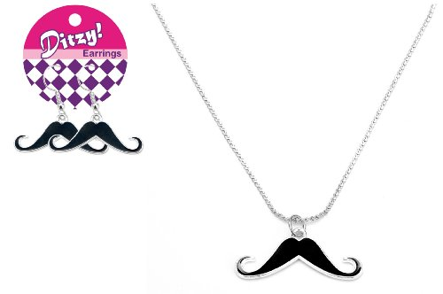 Zorbitz Ditzy Earring/Necklace Set, Mustache