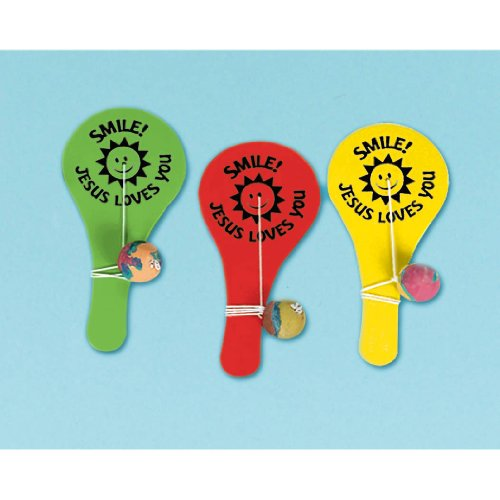 Religious Favors Paddle Ball 12 Count