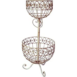 2 Tier Wrought Iron Basket / Bowl / Plant Stand