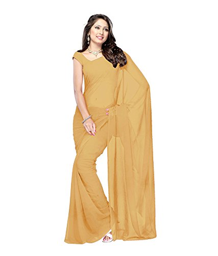 Lovely Look Latest collection of Plain Sarees in Georgette Fabric & in attractive Beige Color