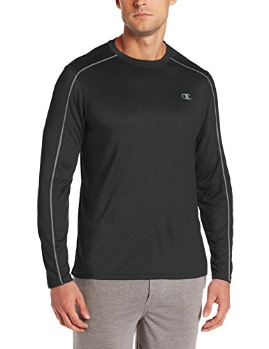 Champion Men's Powertrain Heather Long Sleeve T-shirt, Black Heather, X-Large (Powertrain Champion compare prices)