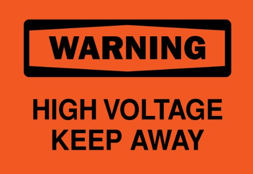 "Brady 22564 Plastic, 7"" X 10"" Warning Sign Legend, ""High Voltage Keep Away"""