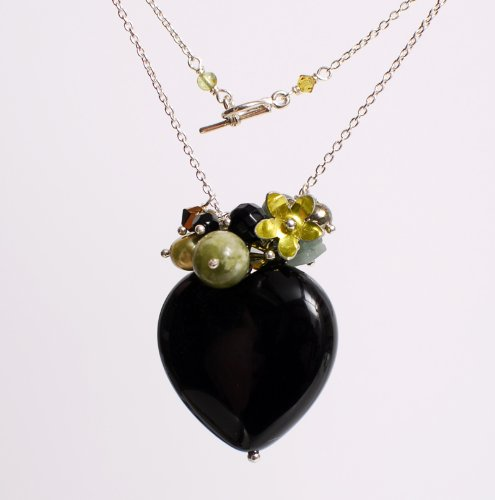 Handmade Cluster Heart Pendant Necklace (Black Onyx Heart And Silver) By Lorna Henderson - Chain 186 Inches