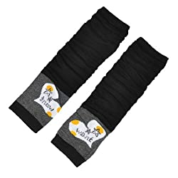 Women Star Letter Printed Stretchy Fingerless Arm Warmers Gloves Black Pair