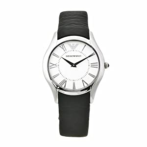 Emporio Armani Women's AR2021 Classic Black Leather Band Watch