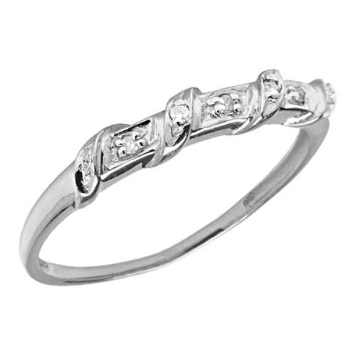 10K White Gold Twisted Band Diamond Promise Ring