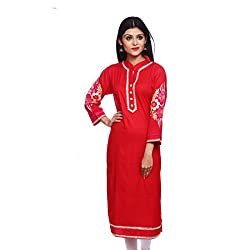 Saamarth Impex Women Cotton Red Color Embroidery Work Collar Neck A Line Style Kurti SI-2899