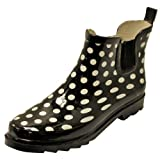 Black & White Polka Dot Quarter Length Rubber Rain Garden Boots