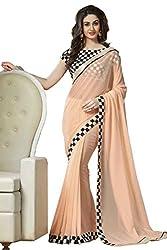 Hari Krishna sarees Designer Peach Color With Black and White Chex Georgette Saree/f199