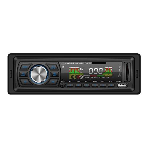 Masione® Autoradio Stereo con porta USB & SD SLOT per scheda MP3e WMA + ritaglio in profondità incasso + AUX IN + Dimensioni standard single DIN (1DIN) + telecomando incluso