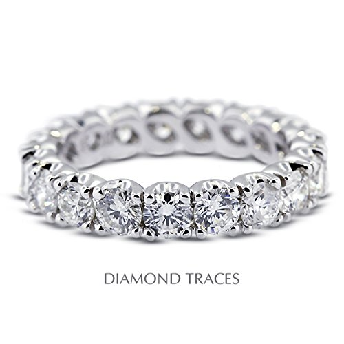 Diamond Traces UD-EWB300-7351 14K White Gold 4-Prong Setting 1.41 Carat Total Natural Diamonds Classic Eternity Ring