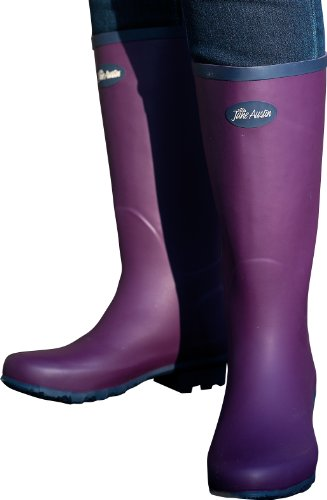 Jane Austin Ascot Rubber Wellington Premium Traditional Boot – Plum/Navy, Size 6