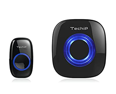 Techip DB-X Weatherproof Portable Wireless Doorbell Kit Operating at over 500-feet Range with 52 Chime Tones & 4-level Adjustable Volume & Blue LED Indicator Light - 100% Lifetime Guarantee