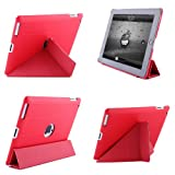 Leather Wraped Case with Multi-Stand Options for iPad 4 and The NEW iPad (3rd generation) / iPad 3 / iPad HD Red