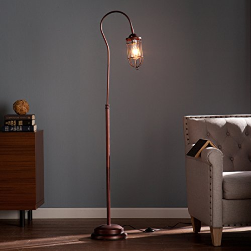Contemporary/Reading/Modern Steel Taylon 100W Floor Lamp (OS2215TL). 6 Feet Long Cord Length. Distinctive Cage-Style Shade. In A Brushed Bronze Finish - Brown 0