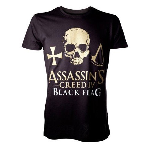 AssassinŽs Creed IV Black Flag T-Shirt Golden Logo Skull Size L