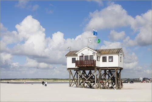 poster-30-x-20-cm-stilt-house-on-a-beach-sankt-peter-ording-eiderstedt-peninsula-schleswig-holstein-