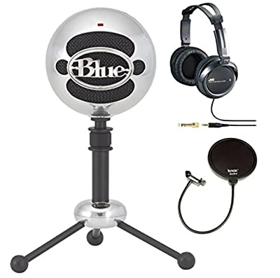 Blue Microphones Snowball Plug-and-Play USB Microphone in Brushed Aluminum with Studio Headphones and Microphone Pop Filter