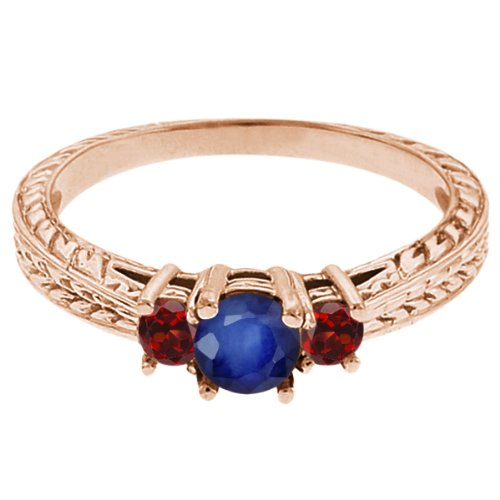 0.60 Ct Round Blue Sapphire Red Garnet 18K Rose Gold 3-Stone Ring