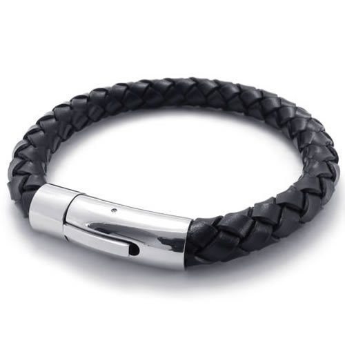 Konov Jewellery Braided Genuine Leather Mens Cuff Bracelet, Stainless Steel Clasp, Colour Black Silver, Length 8