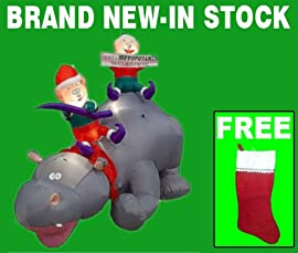 Inflatable Christmas Yard Decorations - 6' Tall Animated Hippopotamus And Elves Outdoor Inflatable Xmas Decoration With Free Stocking