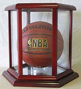 NBA Basketball or Soccer Display Case Holder, Hexagon shape, Cherry Finish by DisplayGifts