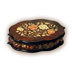 Walnut Glossy Finish Box with Inlaid Roses