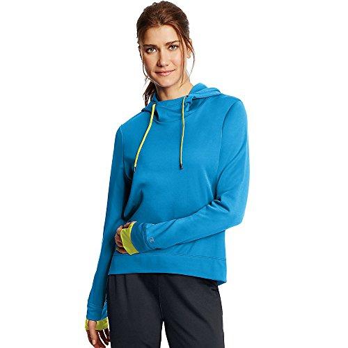 Women's Tech Fleece Pullover Hoodie_Underwater Blue/Highlighter Yellow_M