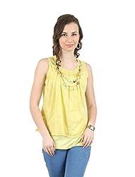 MANKA Women's Sleeveless Top (MK-550_XL, Yellow, X-Large)
