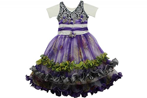 Voilet Coloured Kids Long Frock front-1024816