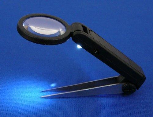 SE LED Illuminated Tweezers with Magnifier