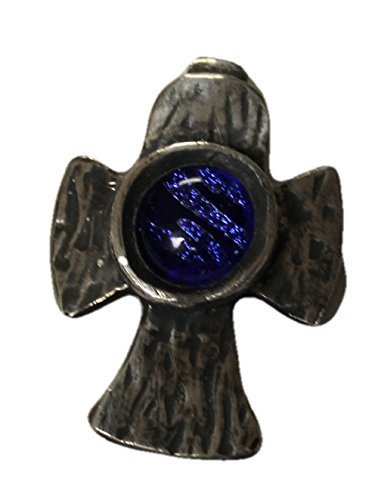 jewels-of-fire-fine-silver-999-cross-with-a-deep-blue-embedded-dichroic-cabachon-great-for-a-man