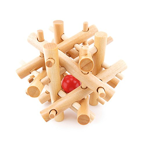 1x Wisdom Logic Mind Challenge Brainteaser Scientific Magic Puzzle Toys Disentanglement Game WY2241 Wooden 12 Sticks Red Ball Burr Lock (Mind Teaser Games compare prices)