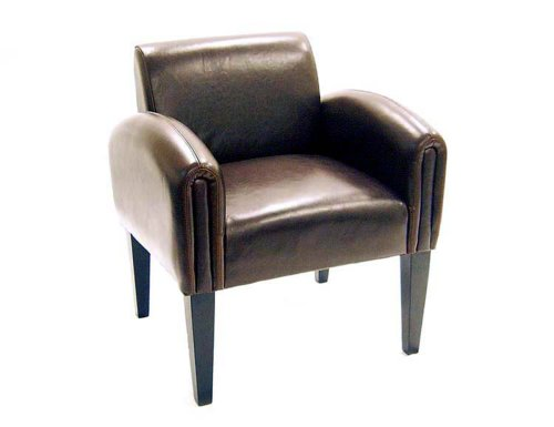 Baxton Furniture Studios Full Leather Club Chair, Espresso Brown