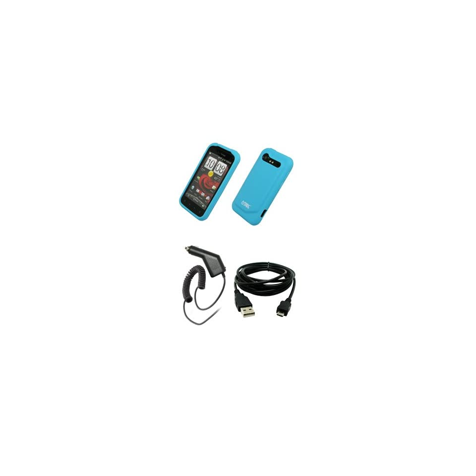 EMPIRE Light Blue Silicone Skin Case Cover + Car Charger (CLA) + USB Data Cable for Verizon HTC Droid Incredible 2 6350