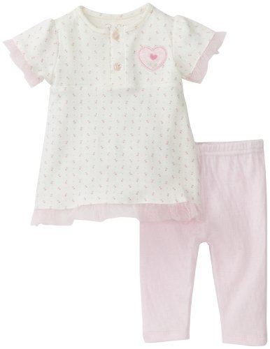 Cheap RENE ROFE Baby-Girls Newborn Rosette Heart 2 Piece Legging Set, Pink/Cream, Small
