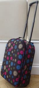 Chocolate Brown Spirals Pattern Smallest Travel Luggage Suitcase Carry On Hand Cabin On Wheels Cabin Approved Trolly Light Weight Pink And Blue Girls