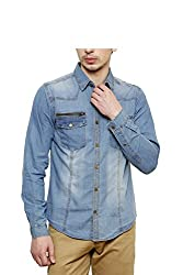 Jovi Men's Cotton Denim Casual Shirt (MCDSCP_M_Blue_Medium)