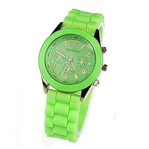 Susenstone(Tm) Geneva Unisex Silicone Rubber Jelly Gel Quartz Analog Sports Women Wrist Watch (Green)