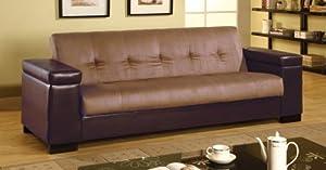 Sofa Bed in Tan Microfiber/Dark Brown Vinyl by Coaster