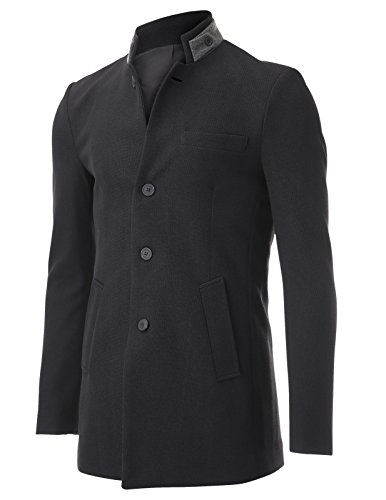 Flatseven Mens Slim Fit Double Collar Single Breasted 4 Buttons Casual Blazer Jacket (Bj503) Black, Boys M