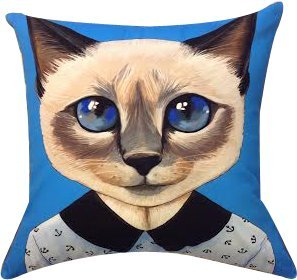 """Artiwa Funny & Cute Cat Cotton & Soft Velvet Sofa Couch Throw Decorative Pillowcase Cover 18""""X18"""" Blue front-350573"""