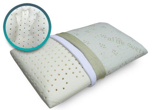 Niburu Cuscino 100% Memory foam a Saponetta per cervicale Tessuto aloe e maglina di cotone