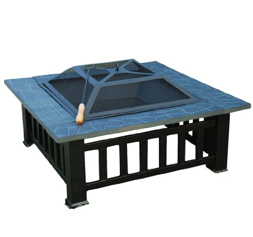 "Outsunny 32"" Square Outdoor Backyard Patio Metal Firepit"