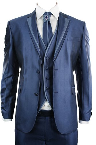 Mens Shiny Slim Fit Wedding Party Suit Blue 4 Piece Lapels W Design Cravat Dimonte