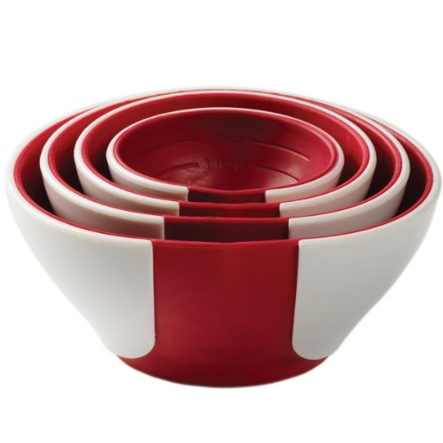 Chef'n SleekStor Pinch Pour Prep Bowls, Cherry Color