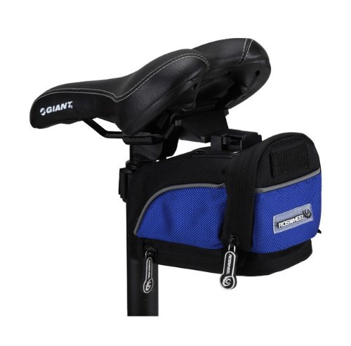 Black & Blue quick release reflective trim saddle bag for cycling (bike / bicycle) plus KLOUD cleaning cloth