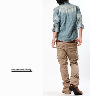デニム メンズ 長袖シャツ ヴィンテージ&ケミカルウォッシュ ウエスタン デニムシャツ 2カラー 紺 水色 半袖 長袖 SAX(水色) Sサイズ