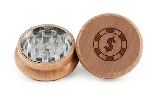Poker Chip Herb and Weed Grinder - 2 Piece Wood Grinder with Laser Etched Designs - Made with Oak (2 Inches) (Weed Grinder Poker Chip compare prices)