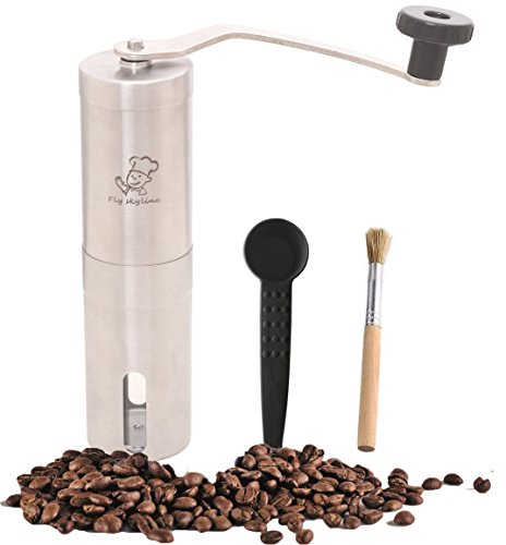 Fly Skyline Stainless Steel Manual Coffee Grinder Perfect Coffee Grinder for French Press, Espresso or as a Spice Grinder or Herb Grinder